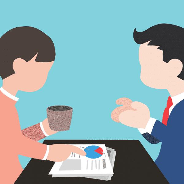 cartoon people having meeting