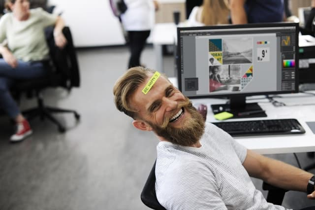 happy employee in office